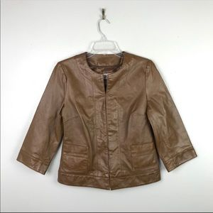 Bradley Bayou | Leather Jacket Cropped Brown XS